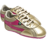 Cute pink and gold sneakers by ethical shoe brand Jinga.