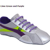 Silver, lime and purple pump by stylish fairtrade footwear brand Jinga.