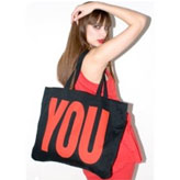 Katharine Hamnett's cool oversized organic cotton 'You/Me' bag. Shop for ethical fashion at StyleWillSaveUs.com