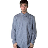 Kato blue plaid mens shirt made from organic cotton and eco-dyed