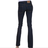 Super-flattering dark wash organic denim jeans by Nudie Jeans.