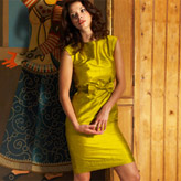 Ethically made, handwoven raw silk dress with pretty bow belt by People Tree.