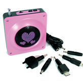 Pink hearts wind-up radio complete with mobile phone charger.  Buy stylish eco gadgets at StyleWillSaveUs.com