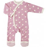 Polka dot organic cotton kimono romper suit. For age 0-5 months.