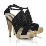 Faux-leather and suedette 'Fishscale' double platform sandals.