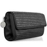 Stella McCartney black washed silk clutch with silver studs